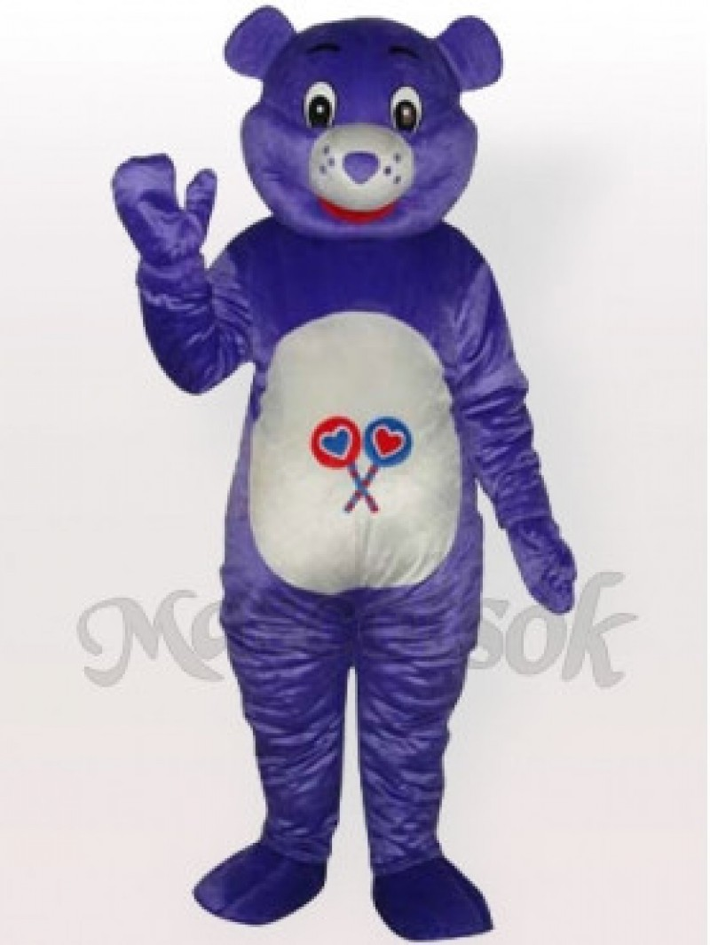 Purple Bear Adult Mascot Costume( illustration under bright flash light)