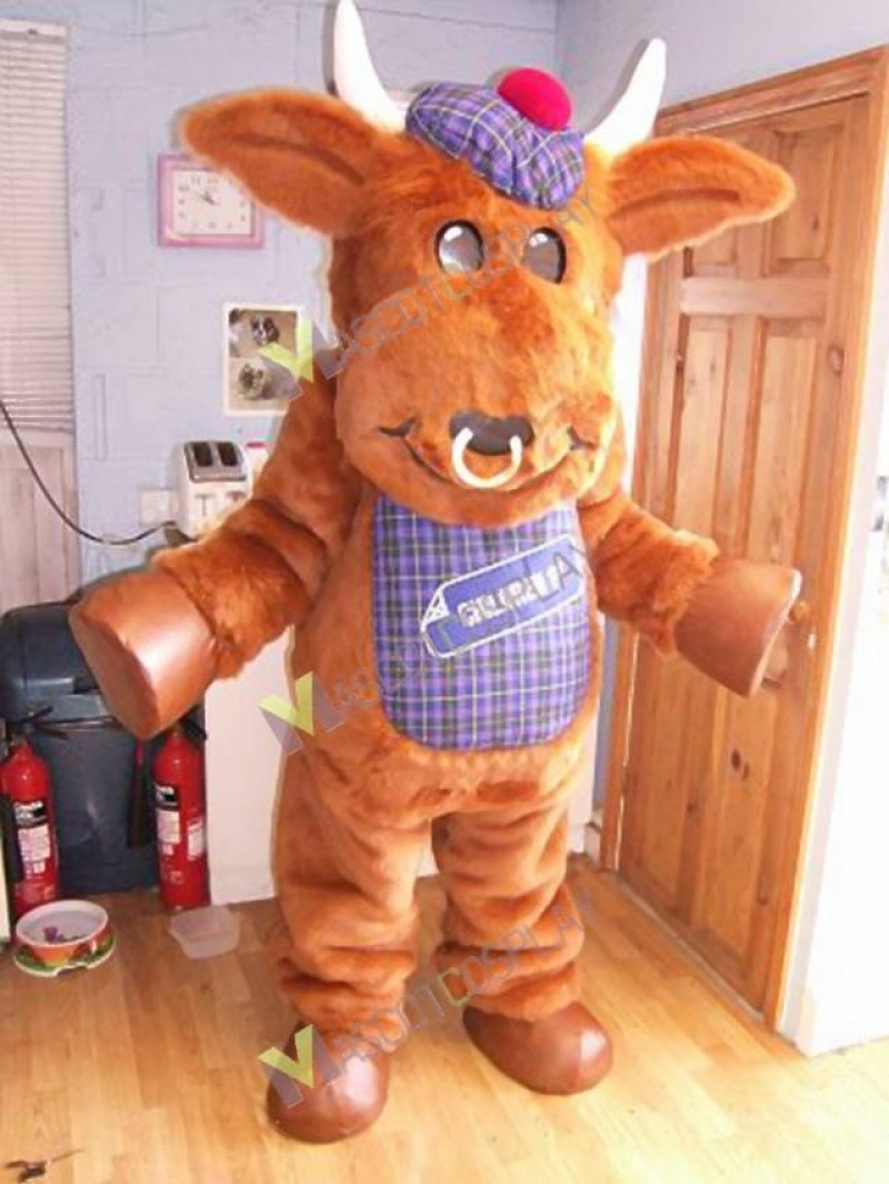 High Quality Adult Brown Bull Mascot Costume with Purple Hat