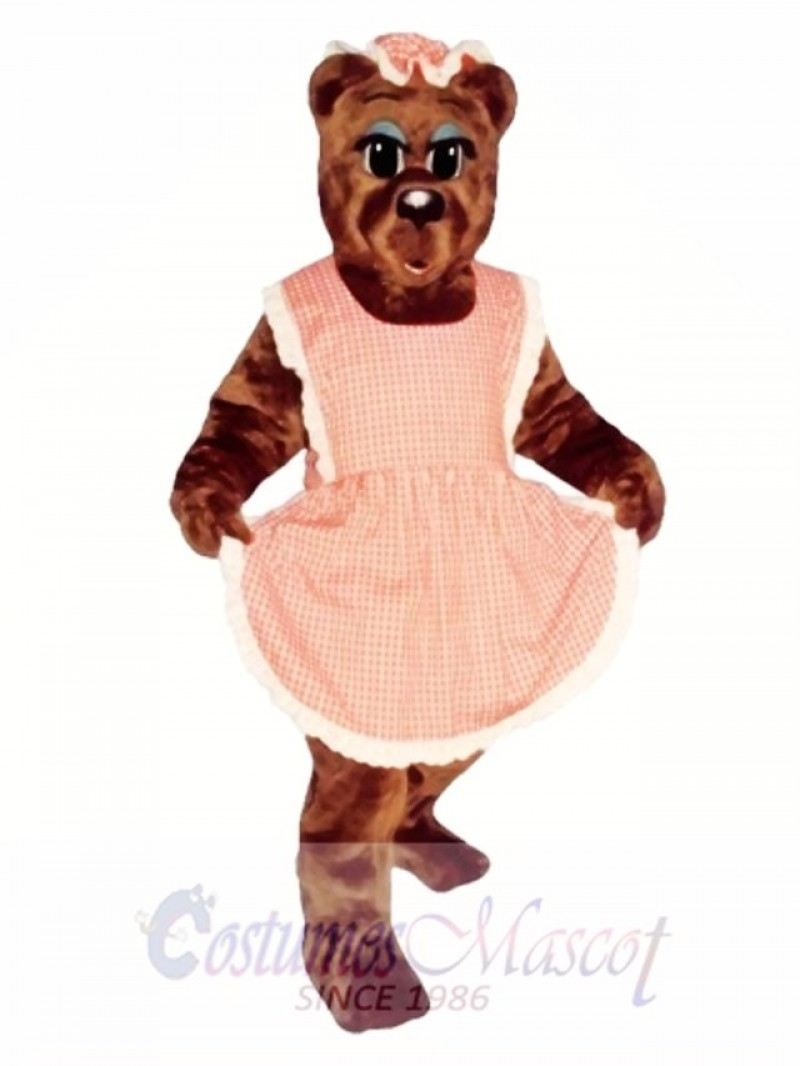 Ma Bear with Apron & Hat Mascot Costume