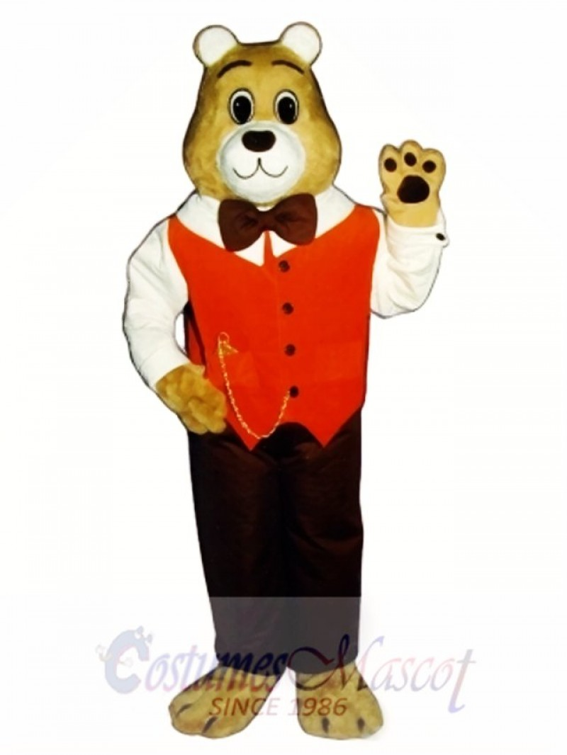 Cute Gentleman Bear Mascot Costume