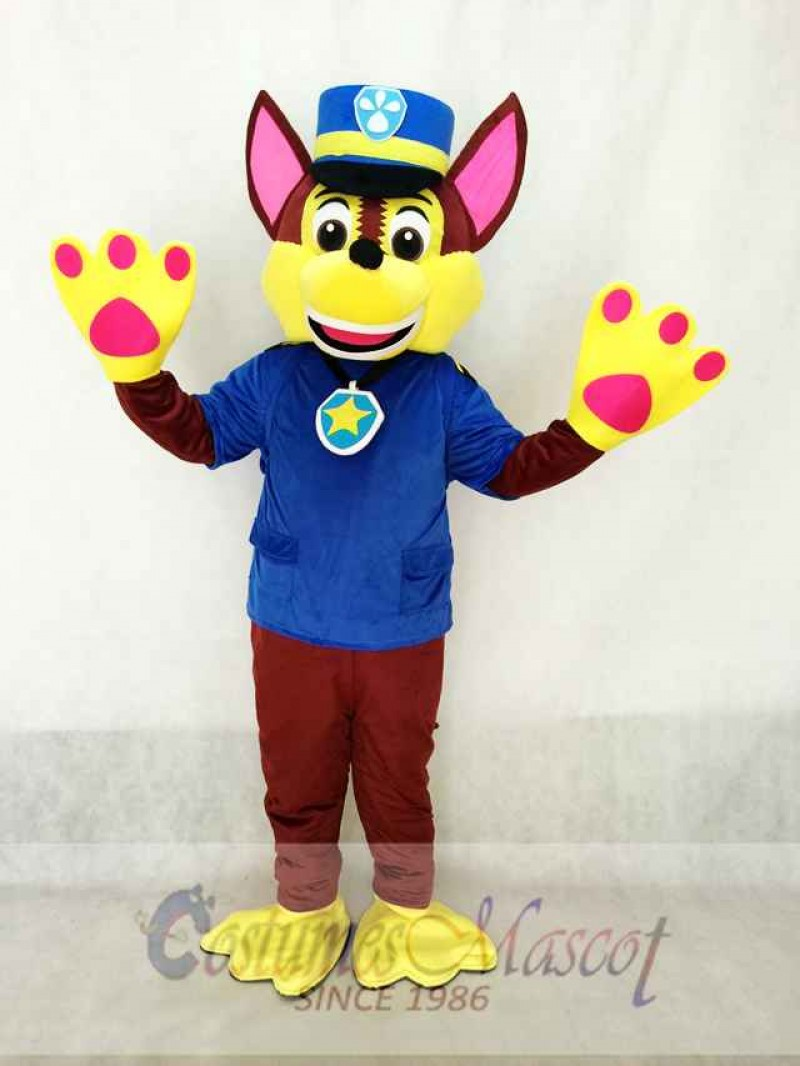 Paw Patrol Chase Dog Mascot Costume German Shepherd Puppy Spy Dog Costume