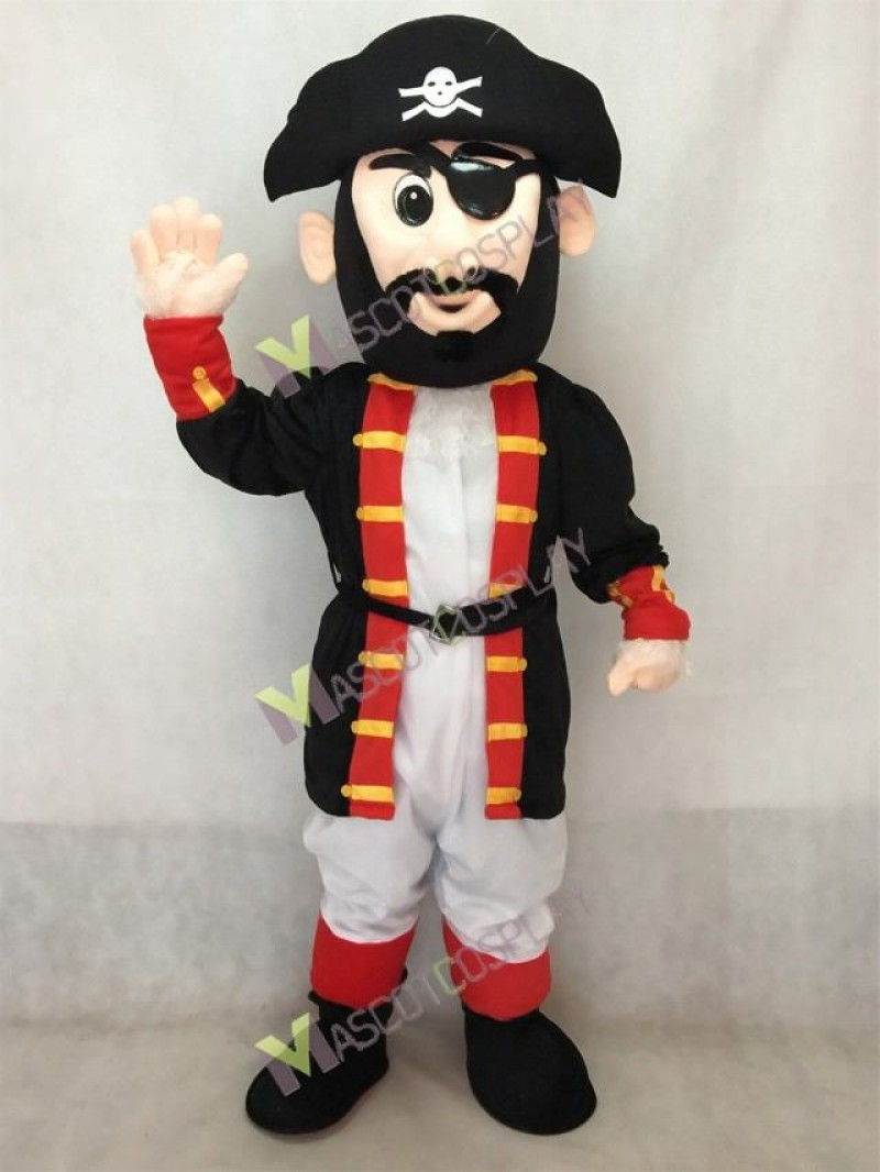 Hot Sale Adorable Realistic Black and Red Captain Blythe Pirate Mascot Costume