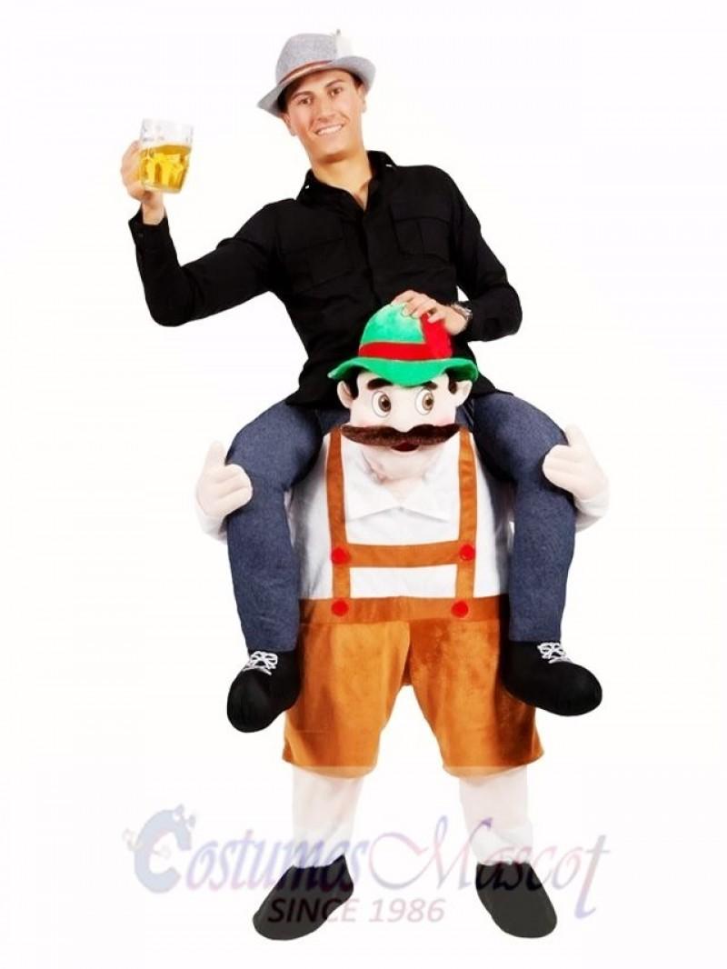 Piggy Back Shoulder Bavarian Oktoberfest Beer Guy Carry Me Ride On Stag Mascot Costume
