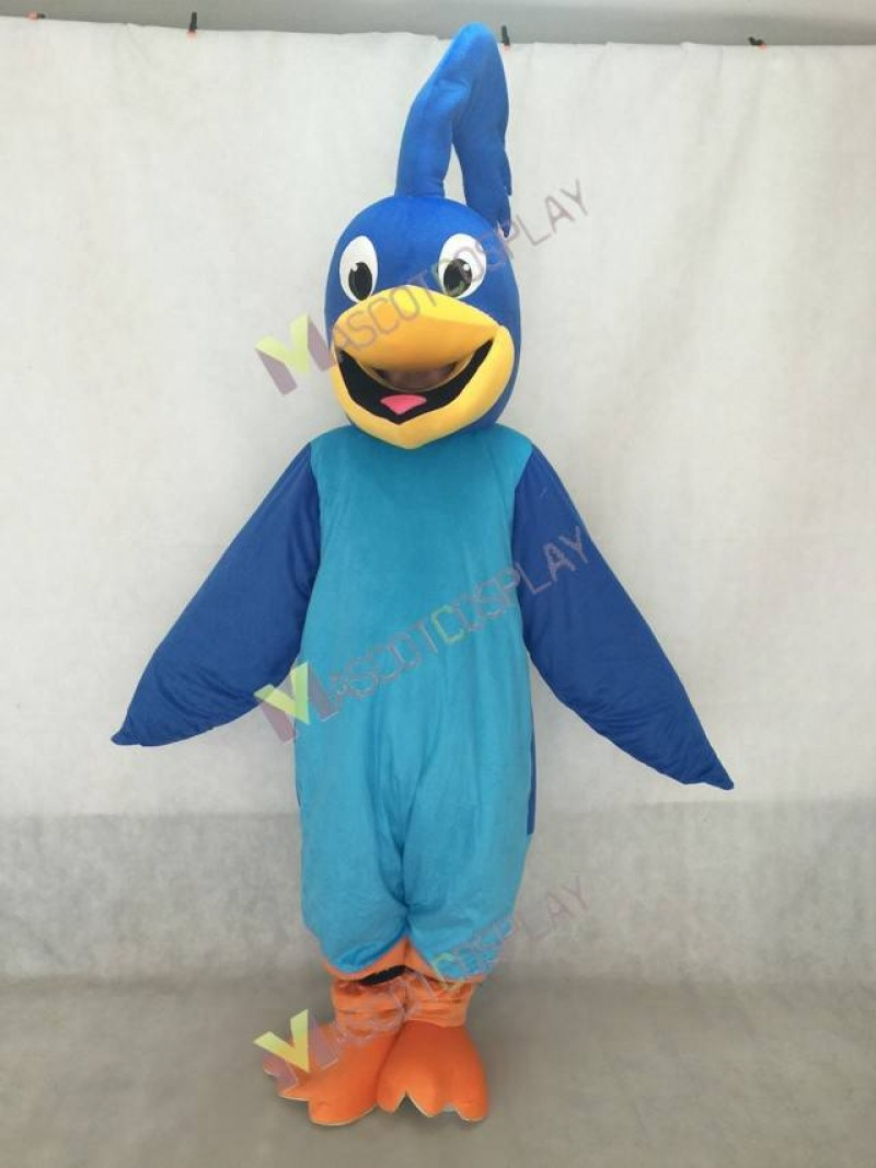 New Blue Roadrunner Mascot Costume with Royal Blue Wings