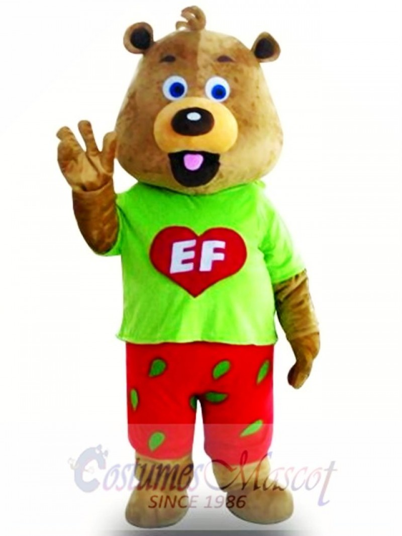 Fancy Cute Green Coat Bear Mascot Costume