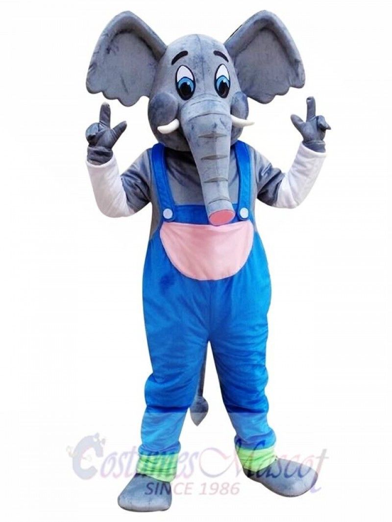 Elephant Mascot Costume with Blue Overalls