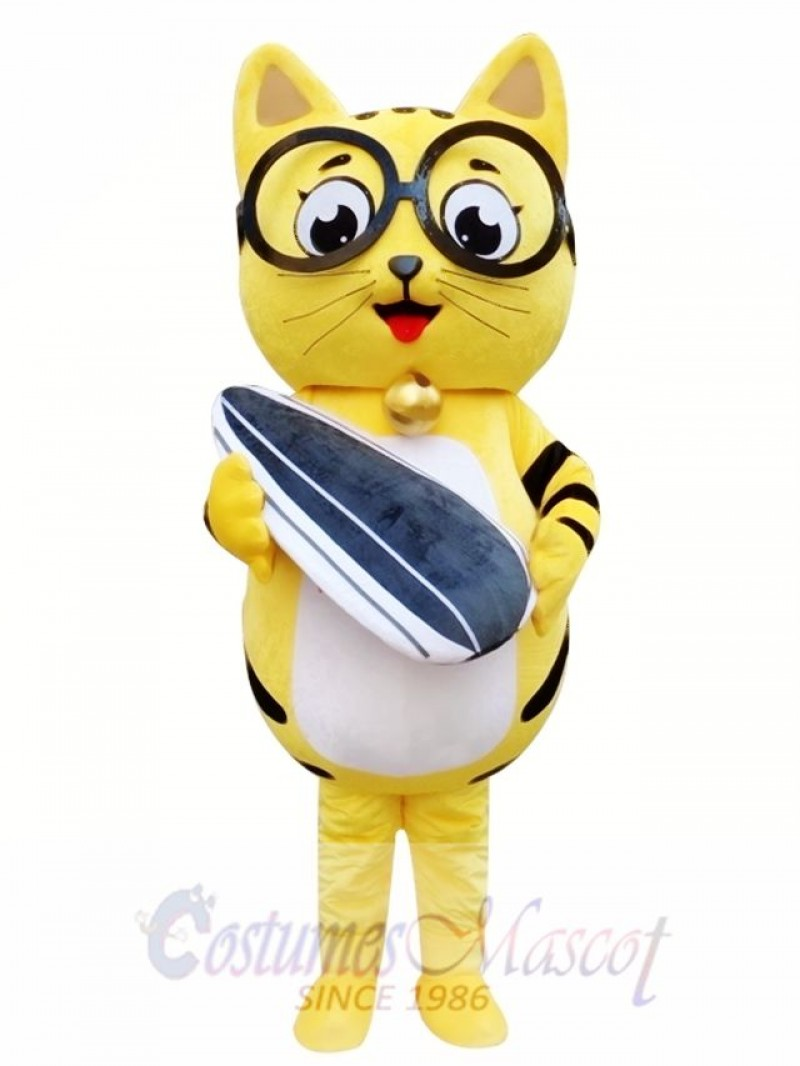 Yellow Cat Mascot Adult Costume