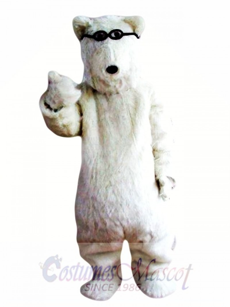 Sun Glasses White Polar Bears Mascot Costume
