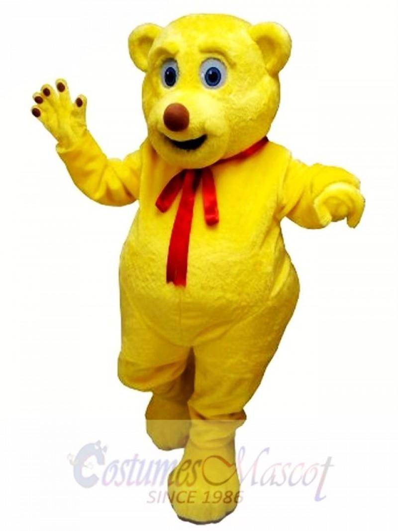 Cute Yellow Bear Mascot Costume