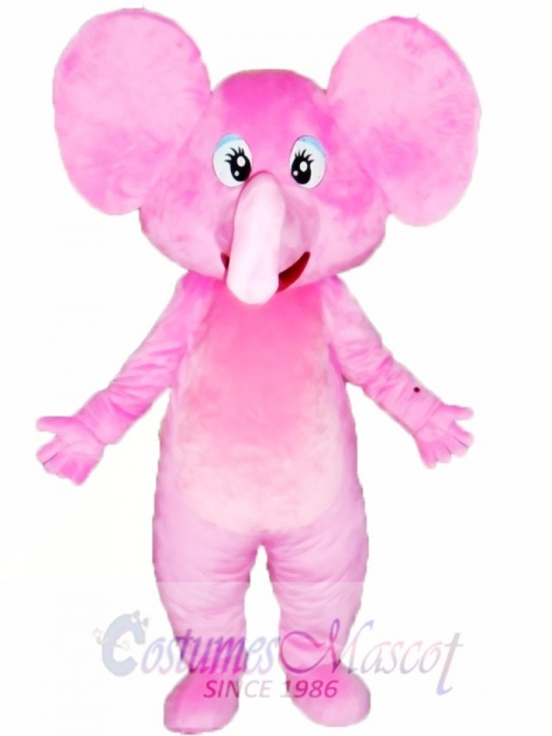 Happy Pink Elephant Mascot Costume