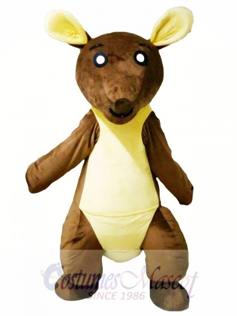 Brown and Yellow Kangaroo Mascot Costume