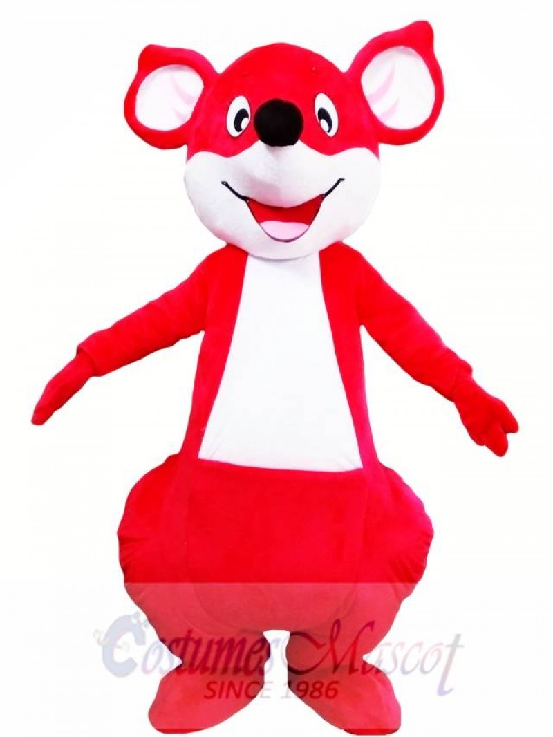 Red Happy Kangaroo Mascot Costume