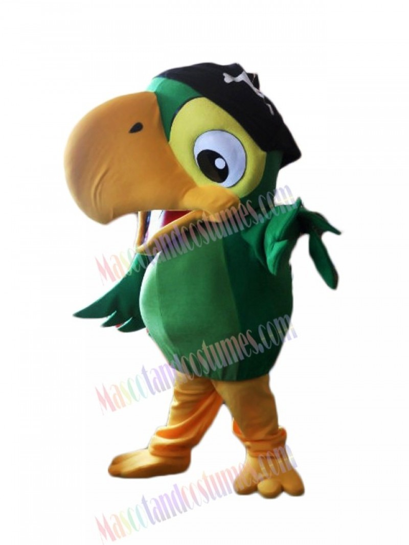 High Quality Realistic Green Pirate Parrot Bird Mascot Costume