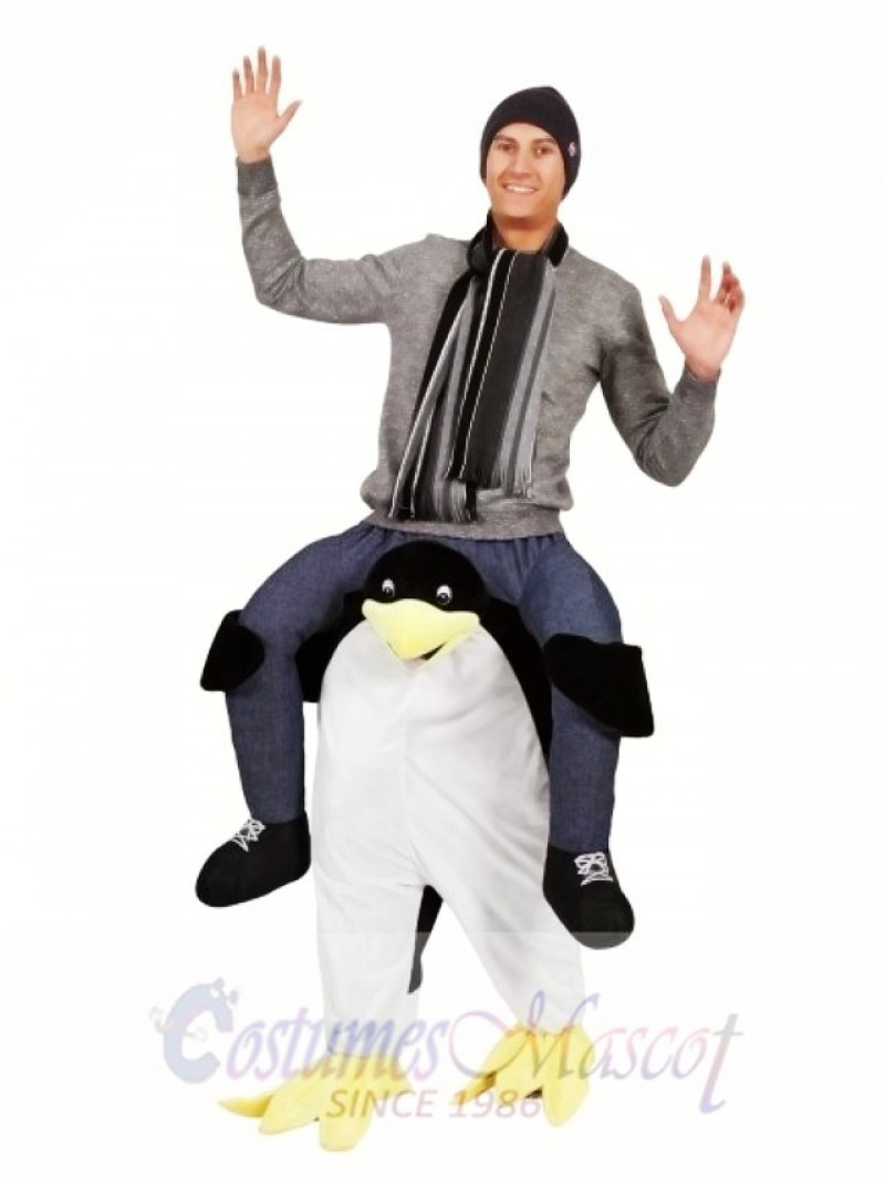 Ride on Black and White Penguin Carry Me Penguin Mascot Costume