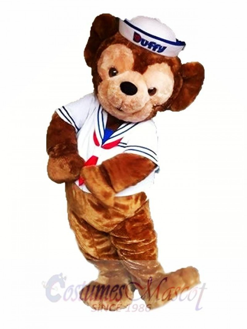 Duffy the White Sailor Bear Mascot Costume