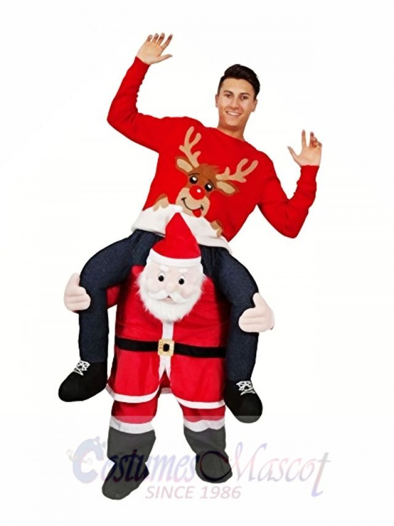 Piggyback Santa Claus Carry Me Ride Father Christmas Character Mascot Costume