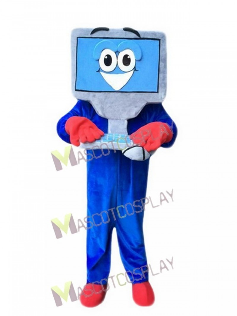 Blue Computer for Adult Mascot Costume