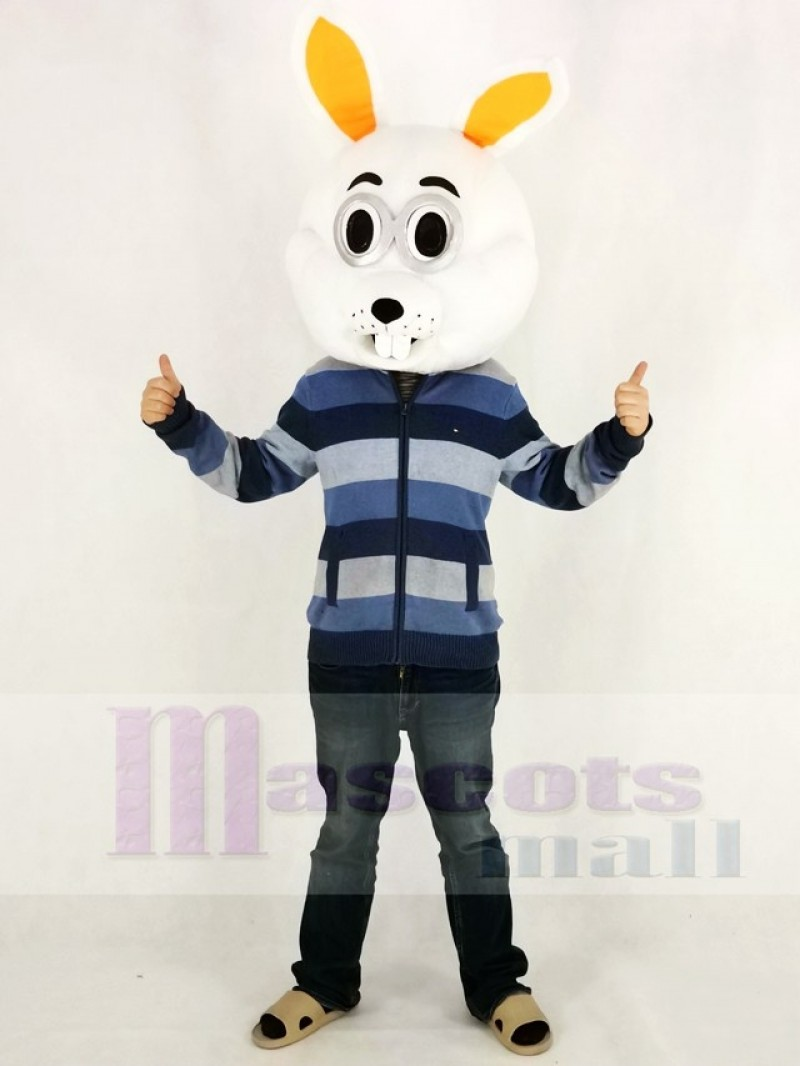Easter White Bunny Rabbit Mascot Costume Only Head