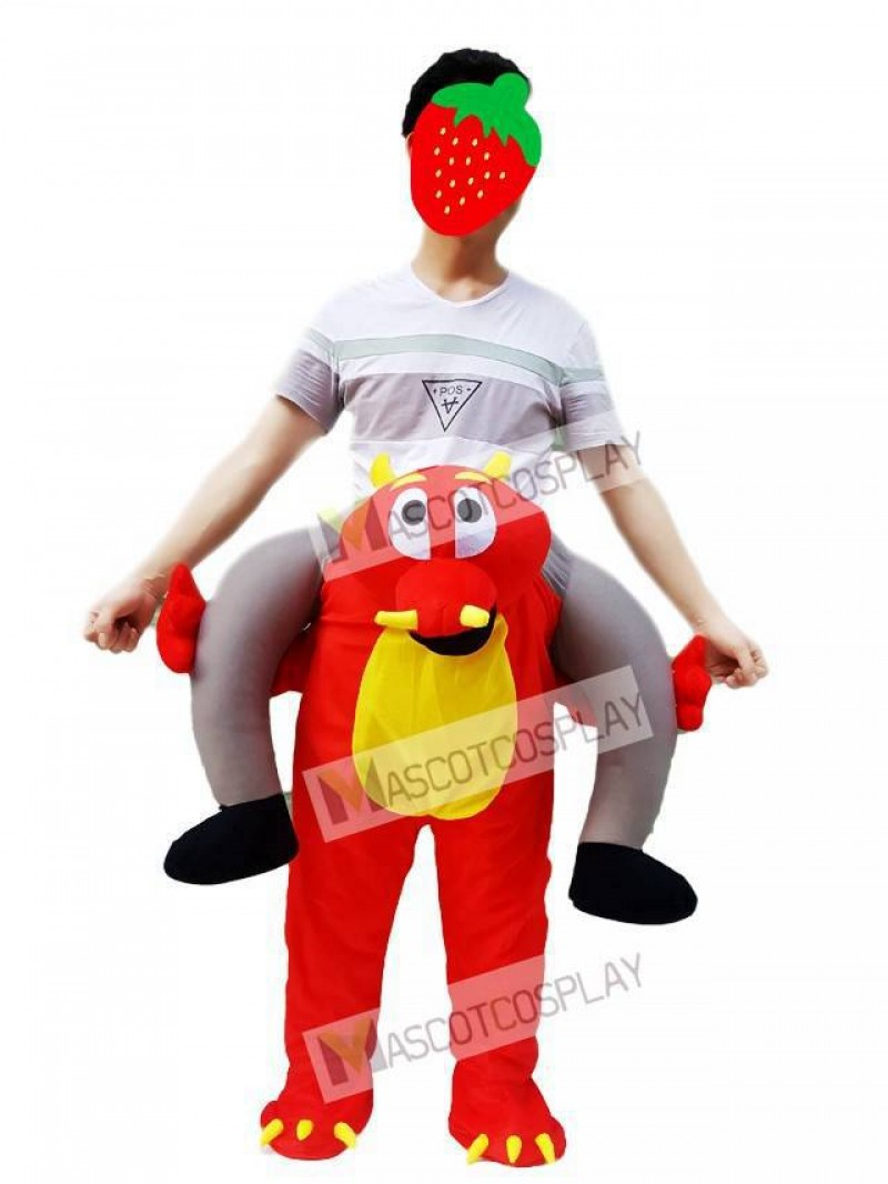 Fire Dragon Piggyback Carry Me Ride on Red Dragon Mascot Costume