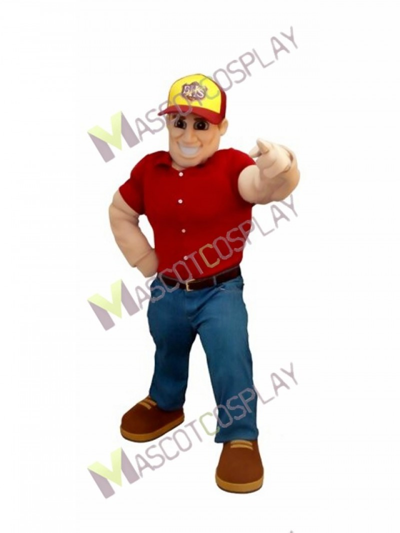 High Quality Adult Digger Man in Hat Mascot Costume