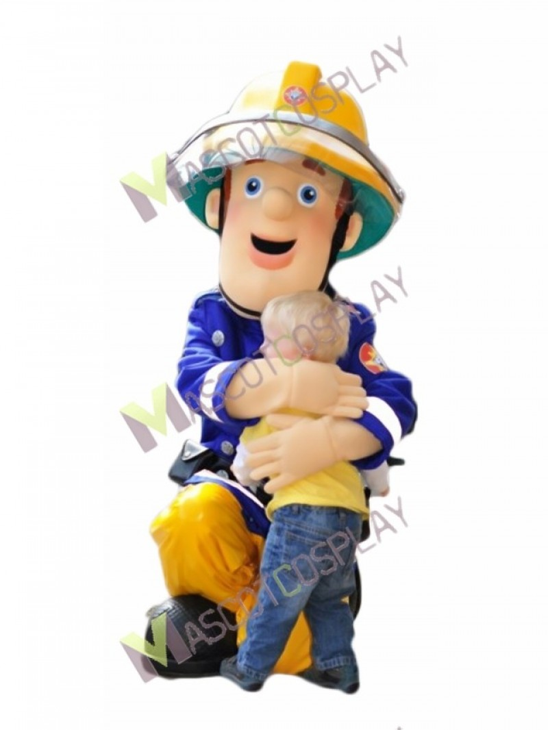 High Quality Adult Fireman Sam Mascot Costume