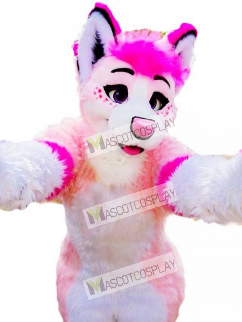 Pink Husky Dog Adult Mascot Costume Animal