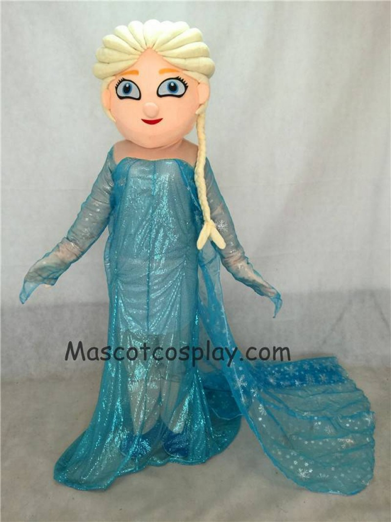 Hot Sale Adorable Realistic New Frozen Princess Elsa Mascot Costume Fancy Dress Outfit