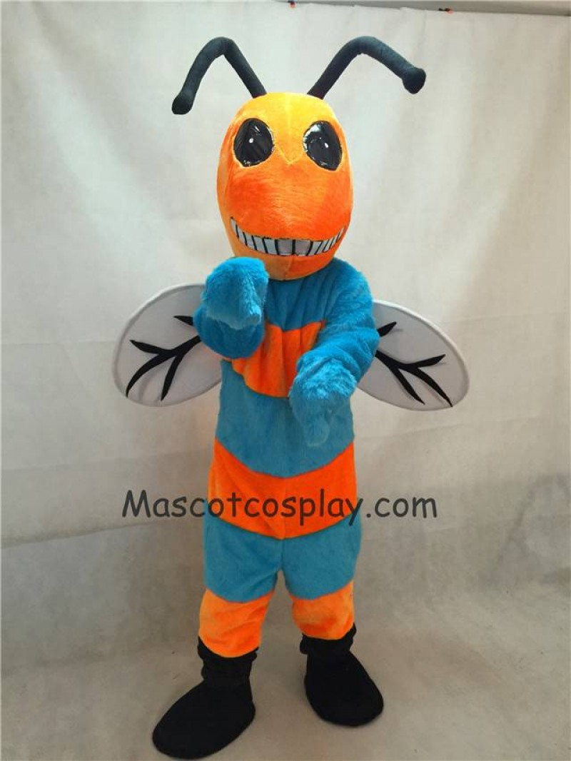 Hot Sale Adorable Realistic New Orange and Blue Bee Mascot Costume