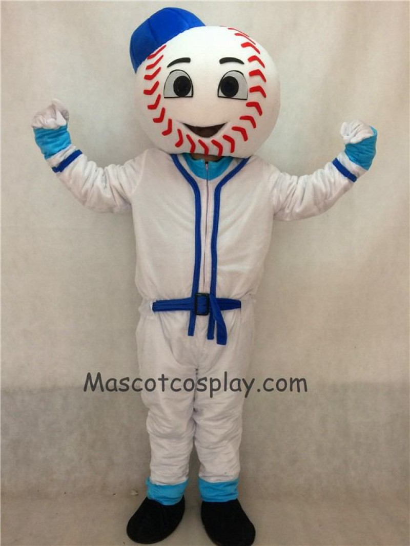 Mr. Met Mets Baseball Man Mascot Costume with Blue Hat