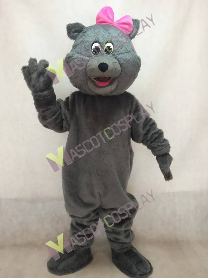 Cute Gray Tabitha Cat Mascot Costume with Pink Bow