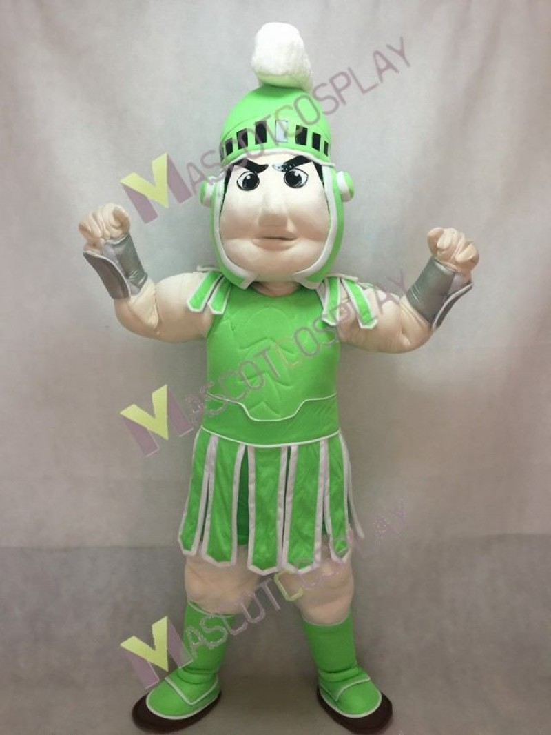 Spartan Trojan Knight Sparty Mascot Costume Custom Color Light Green and White