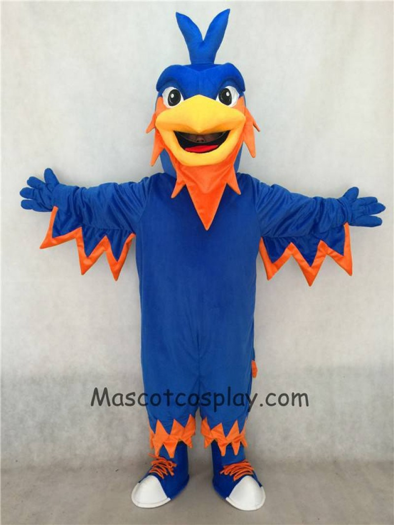 Customize Order Blue Phoenix Mascot with Pointy head, Wings, Tail and Tennis Shoes