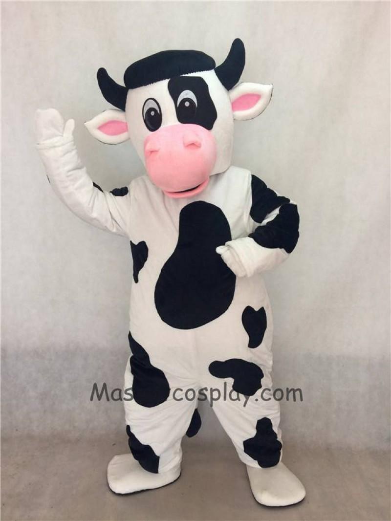 White Cow with Black Spot Mascot Costume