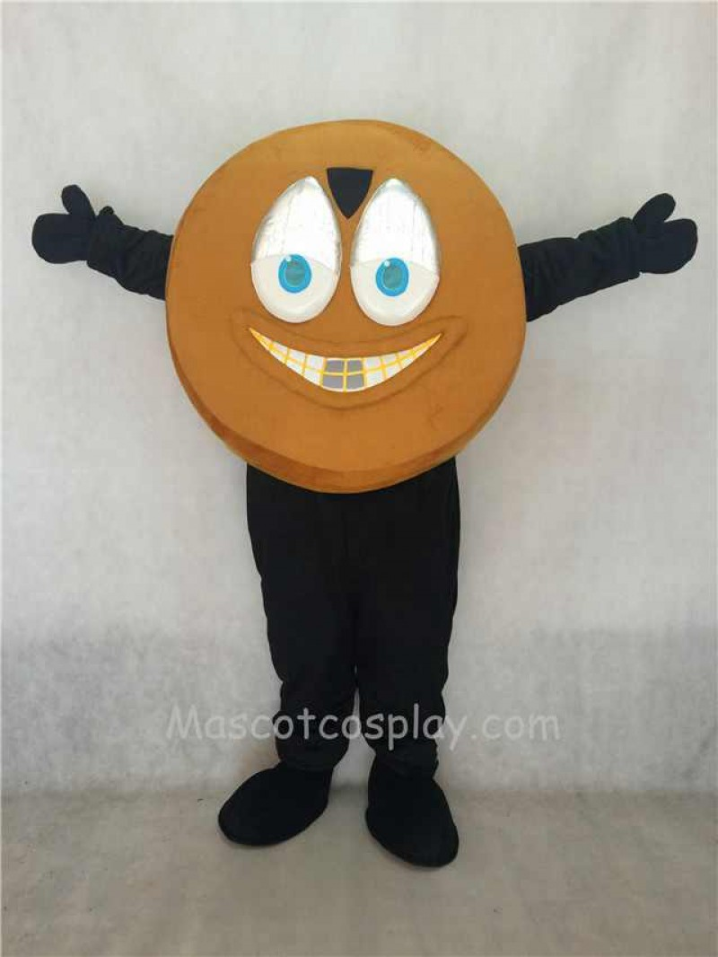 Adorable Light Brown Hockey Puck Mascot Costume