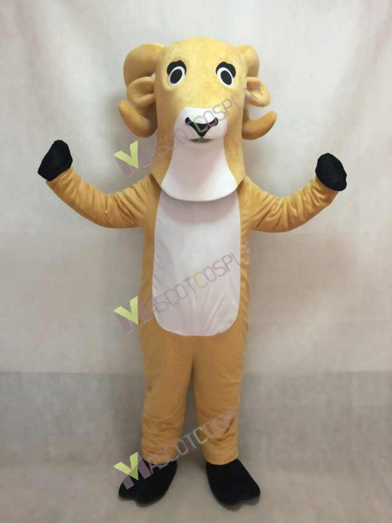 High Quality White Ram Mascot Costume with Yellow Belly