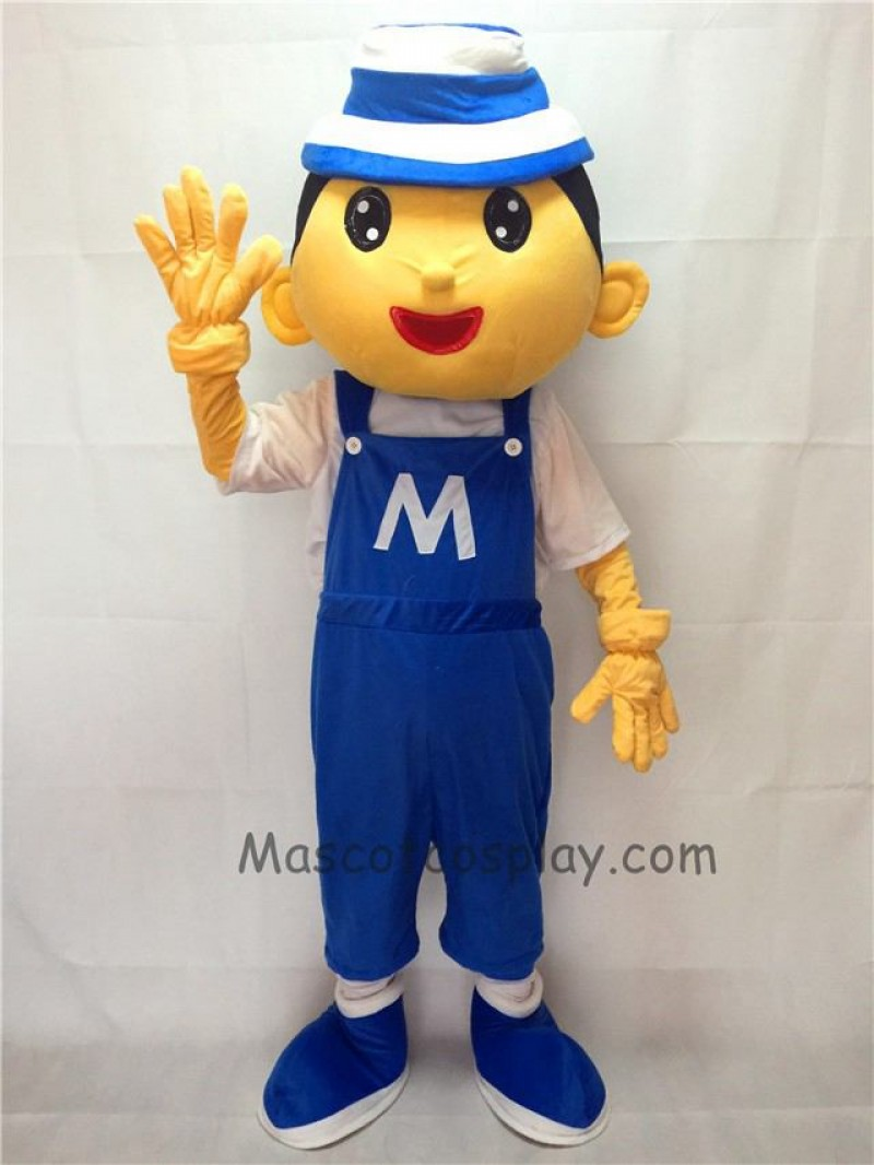 Cute Blue Bonnet Boy Plush Adult Mascot Costume