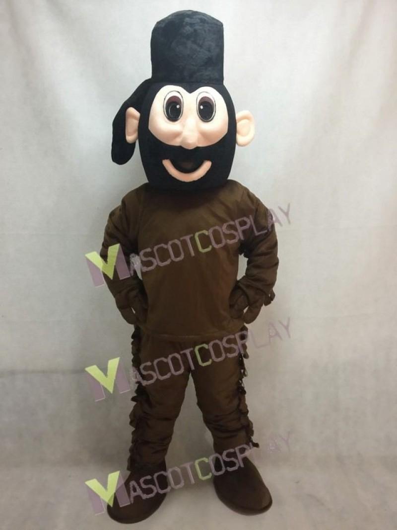 Frontiersman in Brown Mascot Costume