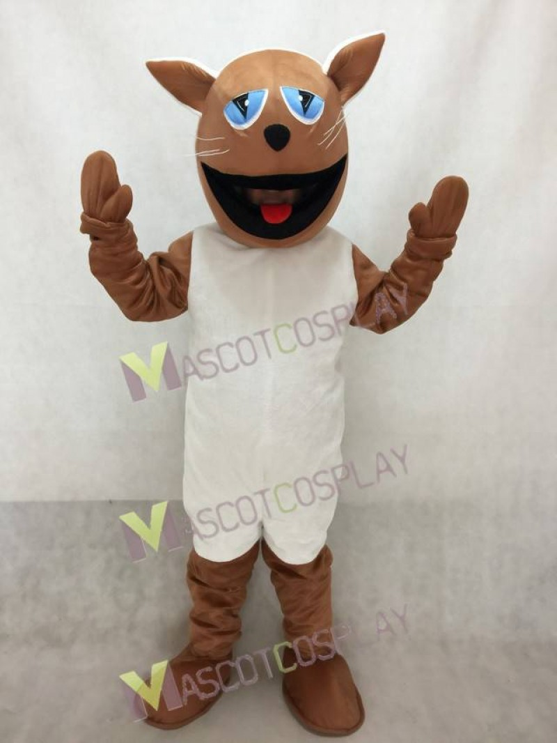 High Quality Realistic New Brown Cat with White Belly Mascot Costume
