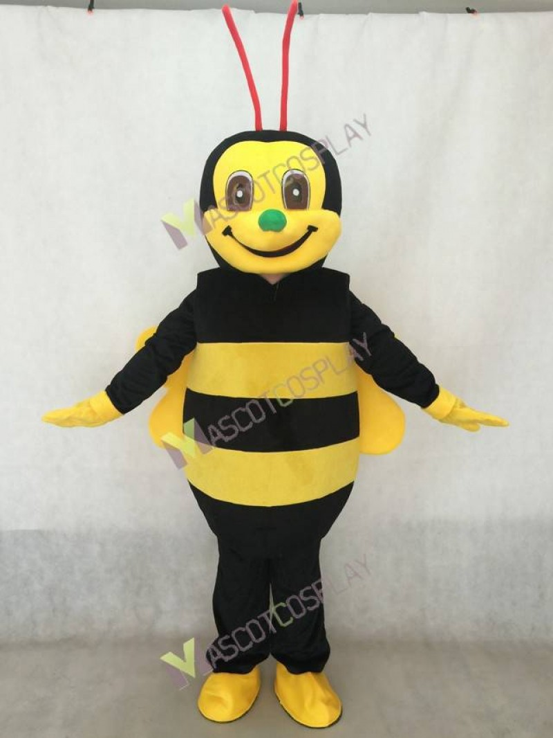 Realistic Adult Black and Yellow Honey Bee with Green Nose and Red Antennae Mascot Costume