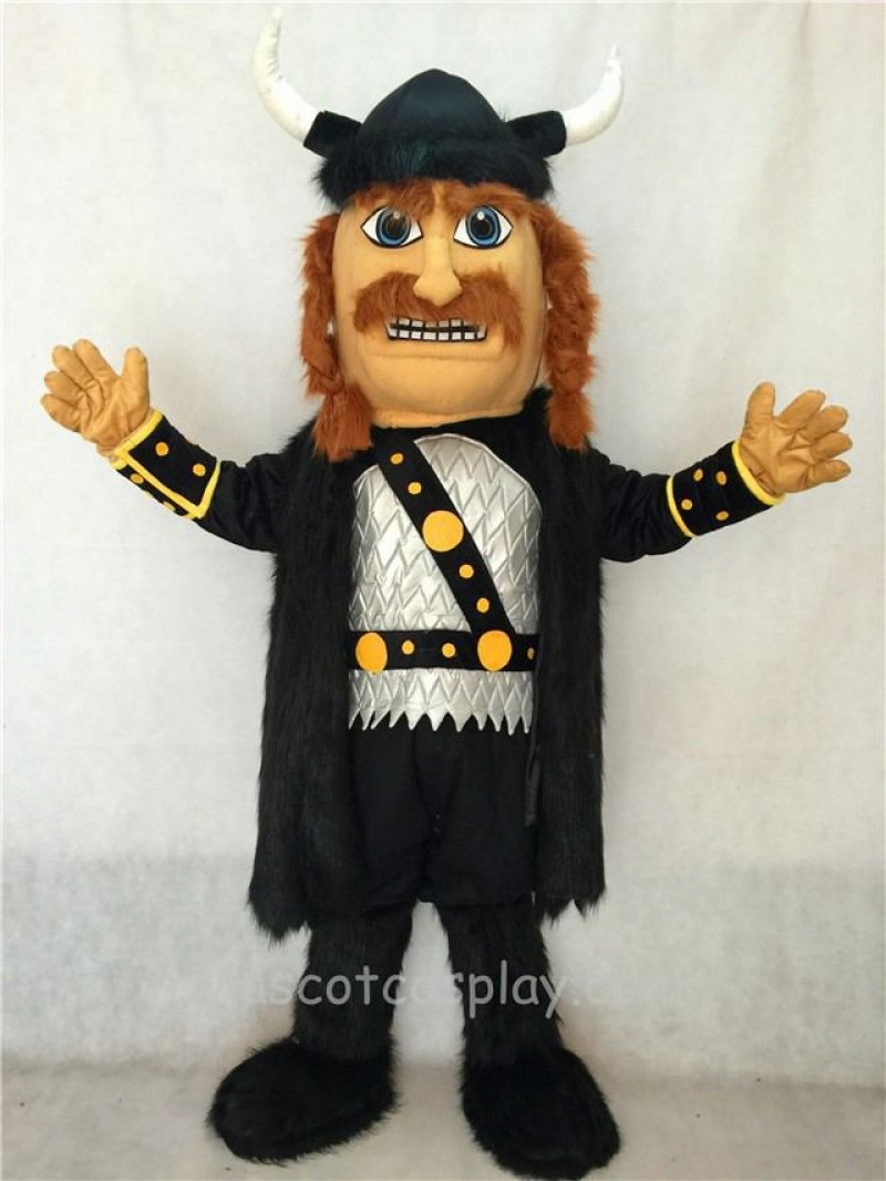 High Quality Adult Viking Mascot Costume with Helmet and Black Cloak