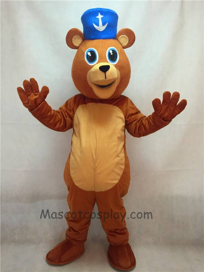 High Quality Adult Happy Valentine's Day Bear with Blue Hat Mascot Costume