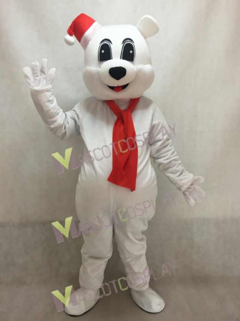 White Bear with Red Santa Hat Mascot Costume