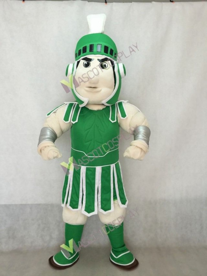 High Quality Adult Spartan Trojan Knight Sparty Mascot Costume with Green Armour