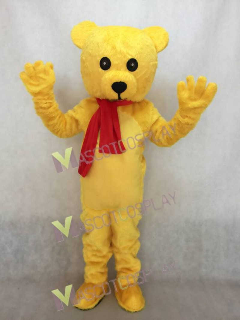 New Stuffed Teddy Bear with Red Bow Mascot Costume