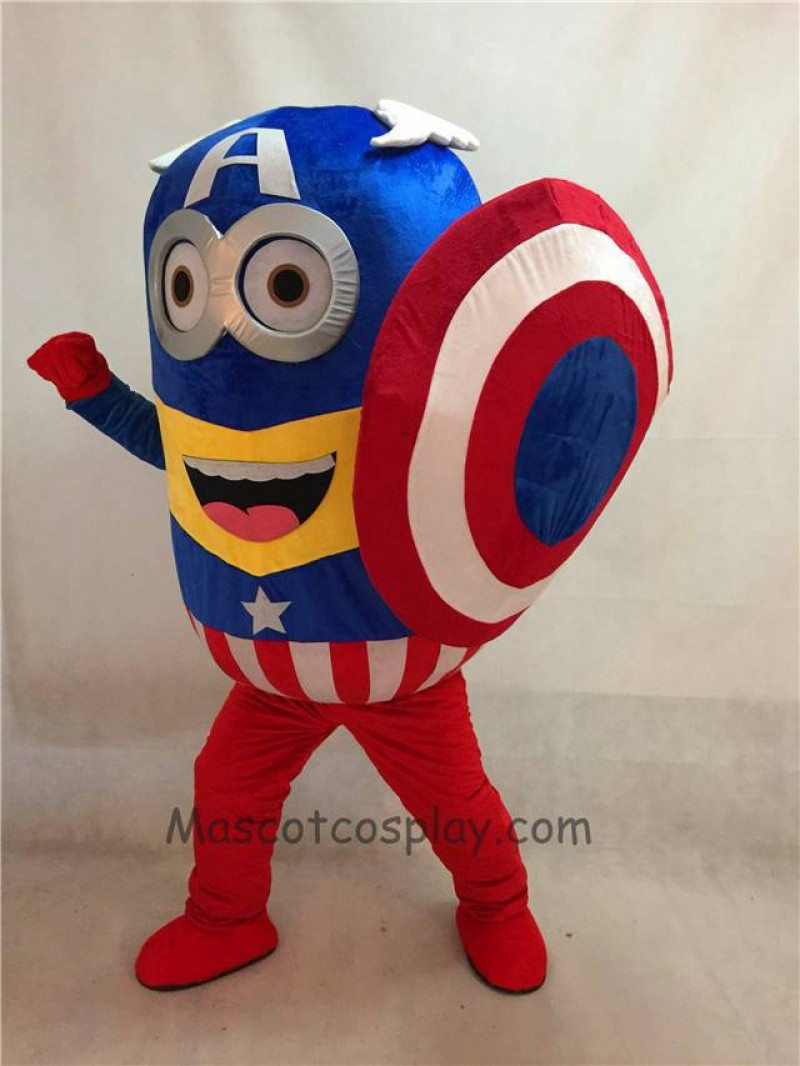 High Quality Adult Despicable Me Minions Captain America with Shield Mascot Costume Fancy Dress Outfit