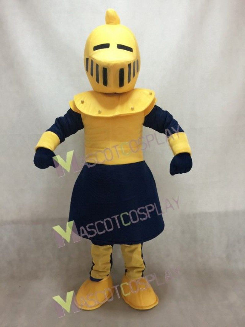 Yellow and Dark Blue Knight Mascot Costume