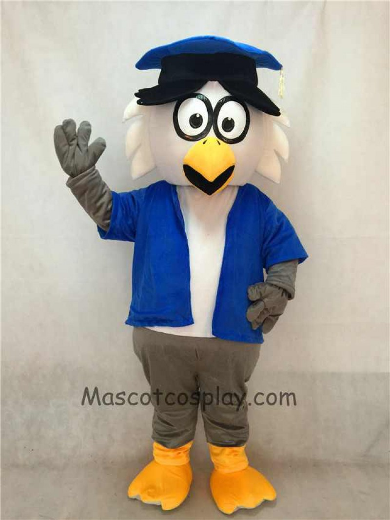 High Quality Adult Dr. Owl Mascot Adult Costume with Blue Coat and Hat
