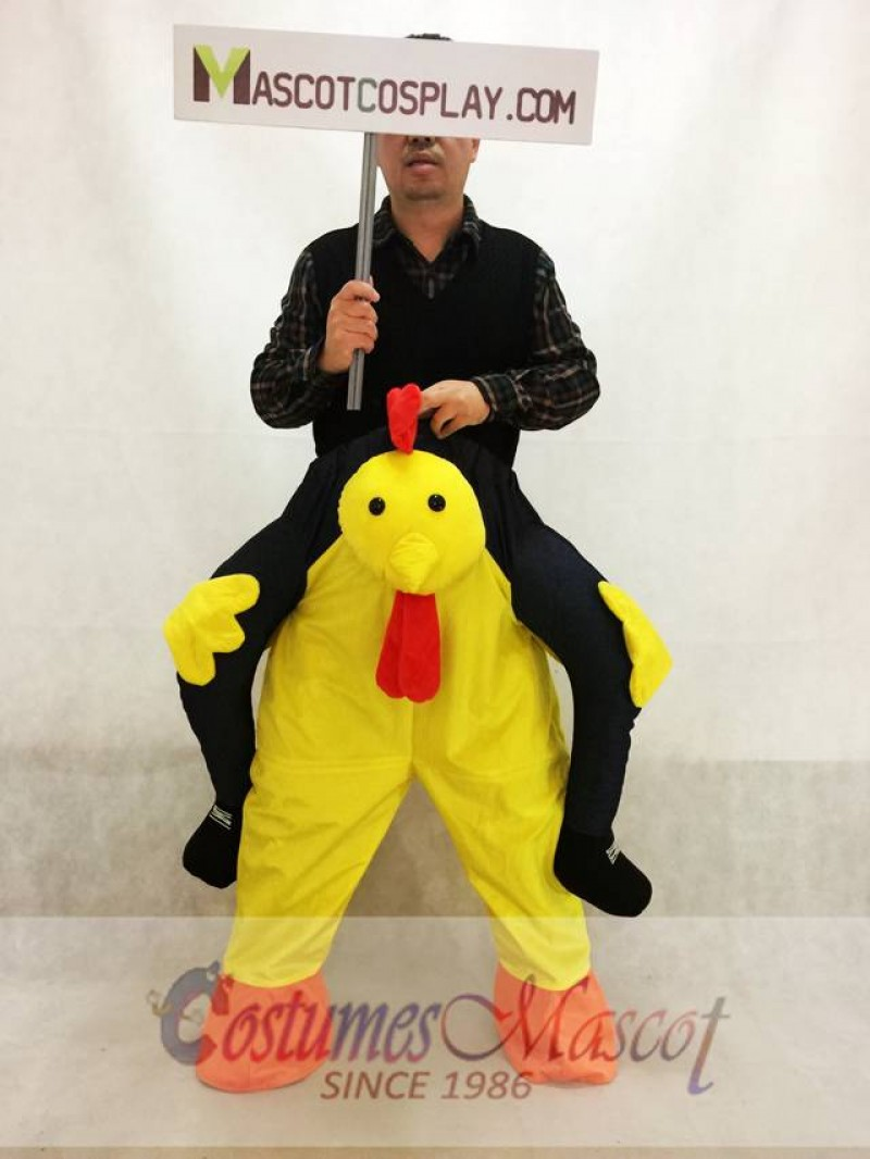 Carry Me Yellow Chicken Chick Piggy Back Mascot Costume Ride On Me Fancy Dress