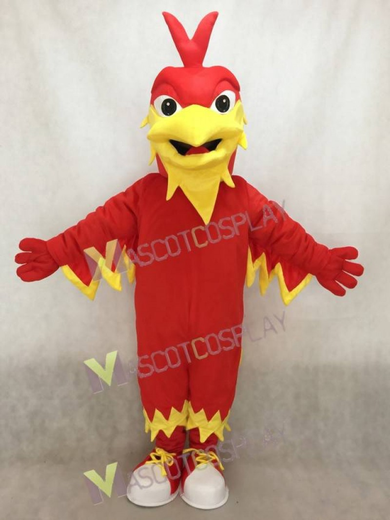 Red Phoenix Mascot with Pointy head, Wings, Tail and Tennis Shoes