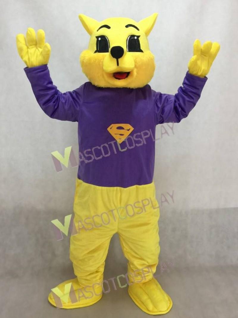 Cute Purple Shirt Winner Wildcat Cat Mascot Costume